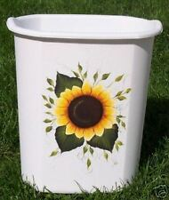 HAND PAINTED SUNFLOWER WASTE PAPER BASKET