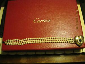 Perlenarmband mit Gelbgold 14 Karat 585 Herz, blauen Saphir, Vintage Rarität!