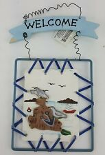 WELCOME SIGN SEASIDE SCENE BOAT SEAGULLS WIRE FRAME