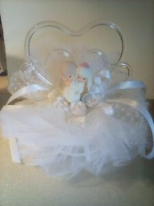 Precious Moments Lace Tulle Ribbon Roses Hearts Wedding Cake Topper