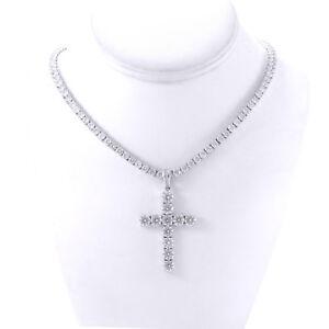 Men's Silver Finish Iced Lab Diamond Cross Pendant 4mm Tennis Chain Necklace
