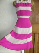 Coast ❤️ Hot Pink Striped Dress Size 10 Party Wedding Summer Holiday Occasion