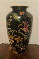 "Vintage Toyo Black Ceramic Floral Vase Designed by Raymond Waites - 14"""