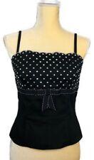Luisa Spagnoli Womens Black White Polka Dots Corset Cami Top Sz 44 EU 10 US