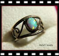 ❤️ Antique Vintage Deco Sterling Silver FIRE Opal Ring ADJUSTABLE SIZE