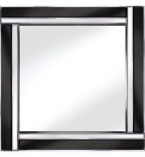 TWO Bar Specchio-Nero/Argento Specchio Parete Quadrato 60 CM x 60 cm smussato