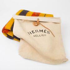 """Vintage Hermes Sellier Paris Wool Rocabar Blanket Throw w. Canvas Bag 73"""" x 62"""""""