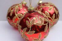 Gisela Graham Weihnachten glänzend Veraltete rot Glas Spielerei mit Blätter x 3