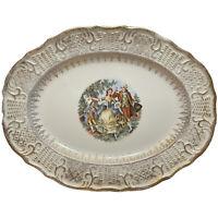 "Vogue Dinnerware Washington Colonial China 13"" Platter Courting Couple 22K Gold"
