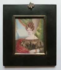 (b021) Miniature Portrait, du Miss Sarah Miles, gouache, daté Tottenham 1832
