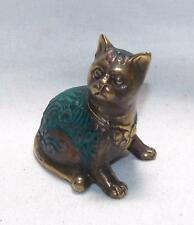 FAIR TRADE HAND BRONZE LUCKY CAT CHARM / STATUE FROM INDONESIA