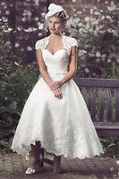 New White/Ivory Dress+Jacket Lace Short Wedding Dress Bridal Gown Size 6 -18