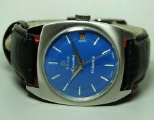 VINTAGE TITONI AIRMASTER WINDING SWISS WRIST WATCH BLUE DIAL B254 OLD ANTIQUE