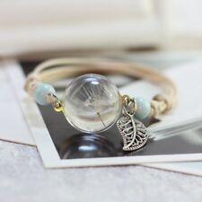 Women Ladies Charm Dried Flower Glass Bracelet Jewelry Lucky Gift Wedding Party
