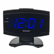 Sharp Blue LED Large Display Digital Electric Alarm Clock Timer Snooze Wake up
