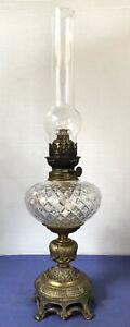 Sehr schöne alte Petroleumlampe mit Runddocht- Brenner - Glastank - Zylinder