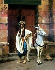 """perfect 24x36 oil painting handpainted on canvas """"a man and a donkey """"N15200"""