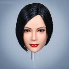 1/6 Scale Ada Wong Black Short Braid Hair Head Sculpt For Female PH Figure Body
