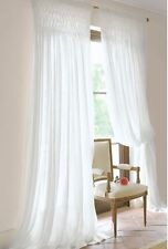 Hamptons French Provincial Curtains Drapery 2 White Vintage Smocked Panels Chic
