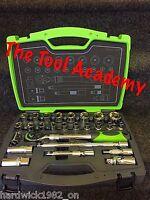 AG21 SEALEY HI VIS GREEN SOCKET SET 1/2 METRIC 26pce EXTENDING RATCHET