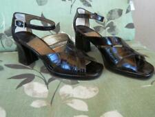 Joan & David VTG Brown Crock/Embossed Leather Block Heel Sandals Ankle Strap 6.5