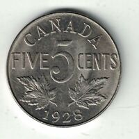 CANADA 1928 FIVE CENTS KING GEORGE V NICKEL CANADIAN COIN