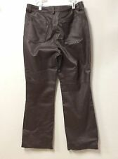 Womens Leather Pants Jeanology size 12 Brown flat front boot cut fully lined 24