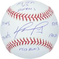 David Ortiz Red Sox Signed Baseball with Career Stats vs Yankees Inscs - LE 34