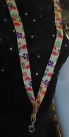 "22"" Pink Flamingo Florida Luau Lanyard Key Chain Id Badge Holder Breakaway New"