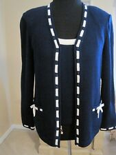 ST JOHN NAVY BLUE/BRIGHT WHITE CARDIGAN WITH BOWS AND MATCHING TANK, SIZE S, 2