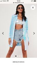 Missguided blue iridescent sequin popper front shacket. Size Uk 12