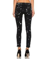 NWT Current Elliott Black Women's Jeans Paint Splattered The Stilletto Size 27