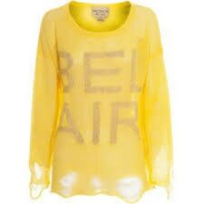 Wildfox Couture Bel Air Lennon Sweater in Yellow - NWT! SIZE M