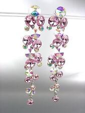 STUNNING Pink Iridescent AB Czech Crystals WATERFALL Long Dangle Earrings