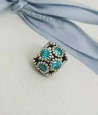 Genuine Silver PANDORA Teal Blue Studded Lights Charm / Bead 791296MCZ Retired