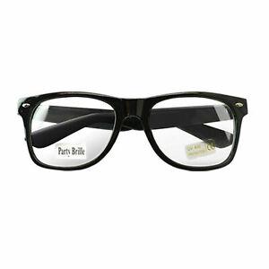 Nerd Retro Brille Schwarz Clear klar Streber Atzenbrille Hornbrille ohne Stärke