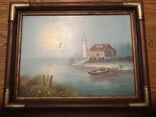 ORIGINAL SIGNED OIL PAINTING SEASCAPE BY GENE BAYSON 12 x 16 CANVAS 1980's