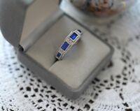 Art Deco Vintage Jewellery Gold Ring Dark Blue White Sapphires Antique Jewelry