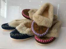 100% Leather Brown Navy Women Ladies Indoor Shoes Slippers Warm Moccasins