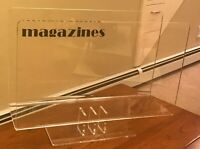 """Clear Lucite Magazine Rack Holder Display Mid-Century Footed 16"""" X 12.25"""""""