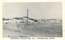 Minneapolis Kansas~Honorbuilt Trailer Mfg Co~Factory~1950s Cars~B&W Postcard