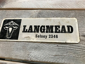 Vintage Well Used Langmead Selsey Metal Agricultural Sign 33cm