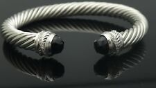 David Yurman Sterling Silver Crossover 7mm Cable Black Onyx Diamonds Bracelet