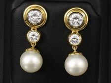 Traumhafte Brillant Ohrhänger mit Perle ca. 1,40ct Goldschmiedearbeit 750/- GG