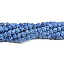 Lava Rock Stone Round Beads 10mm Blue 35+ Pcs Dyed  Gemstones Jewellery Making
