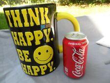 Large Cracker Barrel Mug Tankard Smiley Face   Think Happy Be Happy  HTF