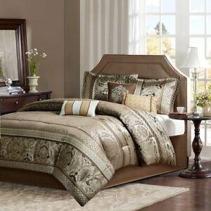 7pc Brown & Gold Motif Jacquard Comforter Set AND Decorative Pillows