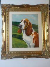More details for beautiful basset hound dog oil painting. british retro artist david snowden