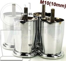 4x CHROME FURNITURE FEET 90mm HIGH LEGS FOR SOFA, BEDS, CHAIRS, STOOLS M10(10mm)