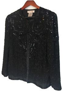 Adrianna Papell Women's Evening Jacket Cocktail Beaded Black Medium True Vintage